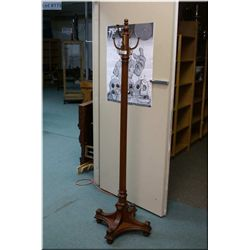 Walnut Coat & Hat Stand, w/brass hooks, 6 ft. Tall free standing, Exceptional