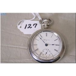 Elgin 18 Size Open Faced Pocket Watch, stem set, silveroid case Made in 1900, excellent condition &
