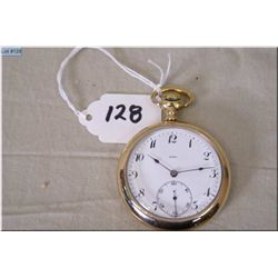 Birks 16 Size Open Faced Pocket Watch, stem set, gold filled case, excellent condition & working ord
