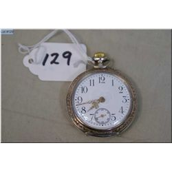 Swiss 8 Size Pocket Watch, pin set, open faced, 800 coin silver case, excellent condition & working