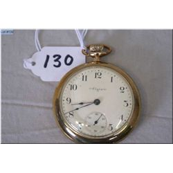 Elgin 16 Size Open Faced Pocket Watch, 15 J Gibralter, gold filled case, stem set , excellent condit