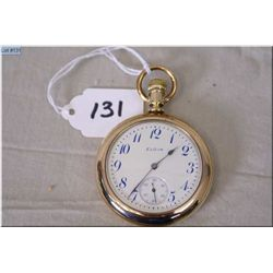 Elgin 16 Size Open Faced Pocket Watch, 15 J, possible gold filled case, excellent conditon & working