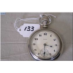 Elgin 18 Size Open Faced Pocket Watch, Made in 1924, stem set, 15 Jewels , nickel silver case, excel