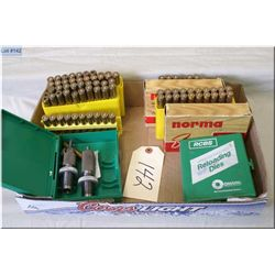 Lot : Two Sets of RCBS .7 x 61 Sharp & Hart Dies w/plastic cases - 46 Rnds .7 x 61 S & H Reloads - 6