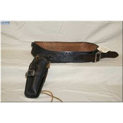 Lawrence Mod 576 Heavy Black Leather Holster w/hand tooled belt, for Right Hand