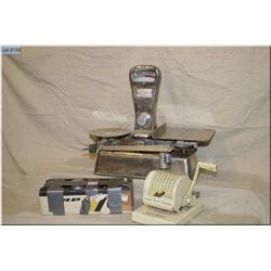 Lot: Exact Weight Scale, box of approx 20 Lbs of various weight for scale - Paymaster Cheque Writer