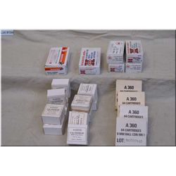 Tray Lot : 6 Boxes ( 50 rnds per) .9 MM Ammo - 12 Boxes ( 25 rnds per) .9 MM ammo - 3 & Part Boxes (
