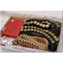 Tray Lot : Two .12 Ga Shot Shell Ammo Belts ( full of .12 Ga Shot Shells) - Leather cartridge belt w