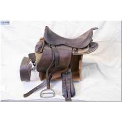 WW I Canadian Military Saddle Broad Arrow Marked Ca 1912 [ As used by NWMP, solid nickel stirrups ]