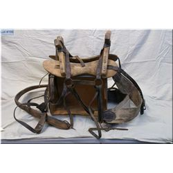 Antique Wooden Pack Saddle w/Alberta Brands burned w/rigging - Two wooden saddle bags