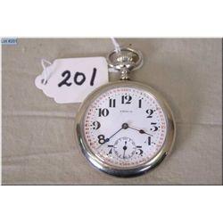 Pierce Watch Co. ( Swiss) 17 Jewel Pocket Watch, special dial, stem set, silveroid case, good workin