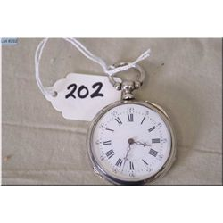 Bonvolot , St. Etienne, 14 Size Sterling Silver Open Faced Pocket Watch, key wind, note; needs repai