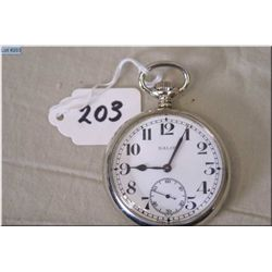 Balco ( Swiss) 16 Size Open Face Pocket Watch, silveroid , stem set, good working order & condition