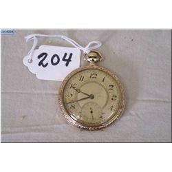 Swiss Gentleman's Dress Watch, 14 Size , 17 Jewel  gold filled case w/engraved Blue Bird decoration,
