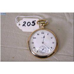 Elgin 16 Size 17 Jewel Pocket Watch ( USA) stem set, gold filled case, note; works & quits