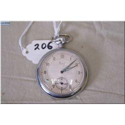 Muros Swiss 16 Size Pocket Watch, 5 Jewel, silveroid case, Art Deco Luminus hands, good working orde