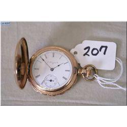 Elgin 8 Size 7 Jewel Gold Filled Hunter's Case Pocket Watch, v-good cond, movement needs tinkering