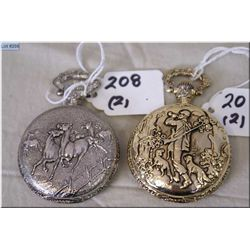 Pair of Modern Swiss Hunter Cased Pocket Watches [ one w/horses decoration] As new, selling as a Lot