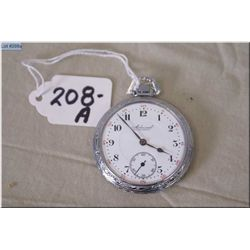Admiral 14 Size, 15 Jewel Pocket Watch, Tacy Watch Co. Pocket Watch, stem set, nickel silver case, v