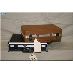 Lot : Two Small Briefcases - good for pistol cases, one black, one tan