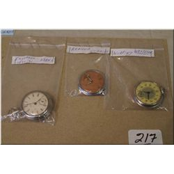 Lot of Three Antique Pocket Watches, inexpensive types for American market, in working order [ Inger