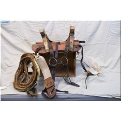 CB Ranch Marked Antique Wooden Pack Saddle w/all rigging & ropes