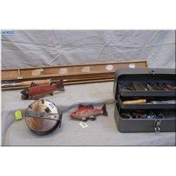 Lot of Five Items : Vintage Sure Strike Wooden Fly Fishing Rod in orig wood box Ca 1950's - Vintage