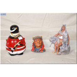 "Box Lot : China Cookie Jar depicting Antique British Guardsman w/gun - cast plaster wall hanging ""He"