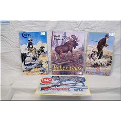 """Lot of Four Metal """"Poster Advertising Signs For Colt Firearms - United States Cartridge Co - Remingt"""