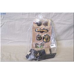 Bag Lot : Four  asstd gun clips - 30 Rnds .5.56 Tracer cal ammo - asstd badges