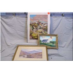 Lot of Three Framed Pictures : Ant Painting on canvas of Country Home w/gilt frame Ca 1950 - Fr. Ear