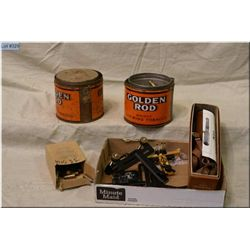 Box Lot : 4 Vint Tobacco Tins w/asstd .22 ammo (Sportsmen Cig, Goldenrod, etc ) - Approx. 20 rnds .3