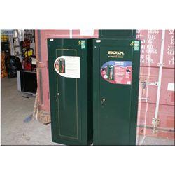 Stack on large green metal gun safe w/keys, 55  x 21 x 16