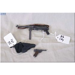 "Lot : Two Miniature Plastic  Replica WWII Items : Schmeisser Full Auto Rifle w/sling 4"" - Luger P08"