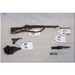 "Lot :Three Miniature Plastic Replica WWII Items :  Lee Enfield No 4 Mk I bolt act Rifle  7 1/2"" w/de"