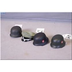 Lot : Four Miniature Replica WW II German Items : Three German Helmets ( Made w/real me+C313tal, com
