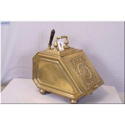 Victoran Era Heavily Embossed Brass Coal Hod w/matching shovel, with carry handle & inside liner, de