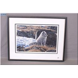 "R.S. Parker Fr Ltd Edition Print, ""Young Arctic Wolf Pup, # 609/950   1986 Artist Signed"