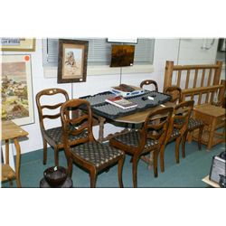 Antique Oak Drop Leaf Dining Room Table w/turned legs ( Mark on table top ) & Set of Six Antique Wal