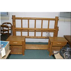 Large Rustic Pine Style Four Poster Bed, w/rails, & access - Pair of Matching Rustic Pine Style End