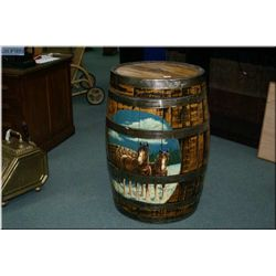 """Unique Lg Wooden Rain Barrel w/painted scene of """" Team of horses pulling load of firewood"""" w/wooden"""