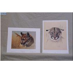 "Lot of Two Small Un-Framed Ltd Edition Prints, Randy Fehr ""Cougar"" # 368/390 1994 - Seerey Lester, """