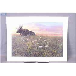 Large Un-Framed Ltd Edition Print, Seerey Lester, Daybreak Moose, # 350/950 Artist Signed 1985