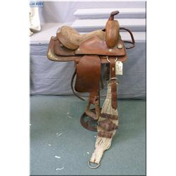 "Western Leather Ladies Riding  1T97  # 3910 w/14"" seat, brown toned seat w/silver toned concho decor"