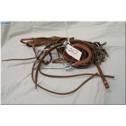 Lot : Leather Western Riding Bridle w/snaffle bit  & reins - Hackamore - 2 extra sets of leather rei