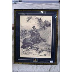 """Ltd Edition Framed Print, """"Good Bye, Old Man"""", an incident of the road on a battery position in Sout"""