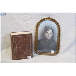 """Lot of Two Items : WWII  Framed Photo of Soldier w/convex glass , """"Canada, For King & Country - Lg A"""