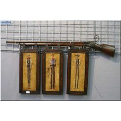 Decorative Wall Hanging Firearm w/three metal cowboy pictures belwo