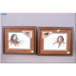 Matched Pair of Framed Cross Stitch Pictures [ Native Man & Woman w/feathers inset ] by Jody Schnell