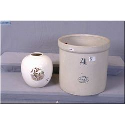 Lot : Medalta Marked 4 Gallon open crock - Un-marked Ant Round Pottery Vase w/scene of ducks flying